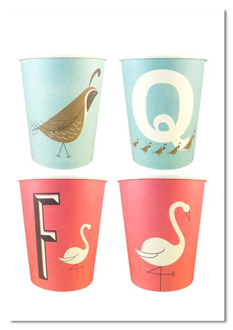 A-Z Typographic Party plates & cups by Magpie