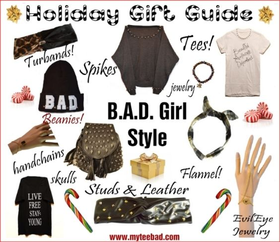 MyTee B.A.D. Holiday Gift Guide! #GIFTS #GIFTIDEAS #holiday #studs #spikes #skulls #jewelry #handmade #livefree #turbands #badgirls