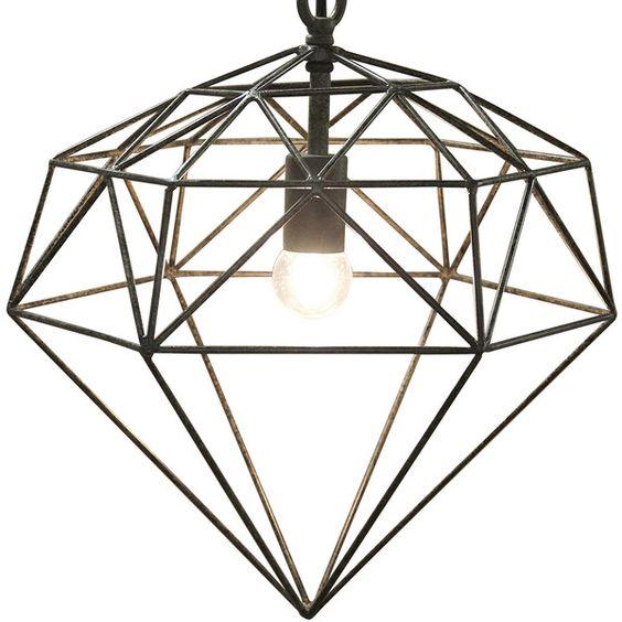 Dara Industrial Loft Rustic Diamond Metal Pendant (€275) ❤ liked on Polyvore featuring home, lighting, ceiling lights, diamond lamp, metal lamp, chain lamp, chain lighting and hanging chain lamps