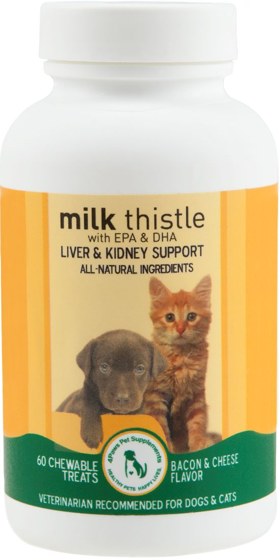 Milk Thistle with EPA & DHA for Dogs and Cats is a safe, 100% natural remedy formulated to remedy liver and kidney failure in dogs and cats and provide support to their urinary tract system. As a LIVER aid, it improves the efficient production of insulin and bile within the liver and helps maintain your pet's ability to eliminate toxins. As a KIDNEY aid, it promotes proper kidney function, supports healthy blood pressure and maintains the routine excretion of waste products.