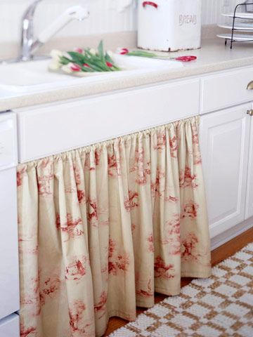 Soften the Cabinets with Fabric - For under my sink when I redo my cabinets??