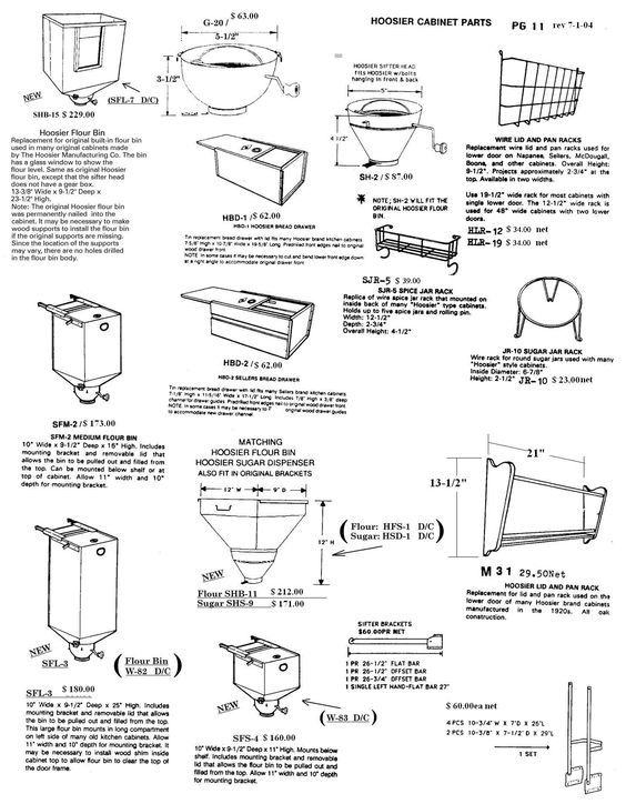 Sellers Hoosier Cabinet Replacement Parts Page 11 Antique
