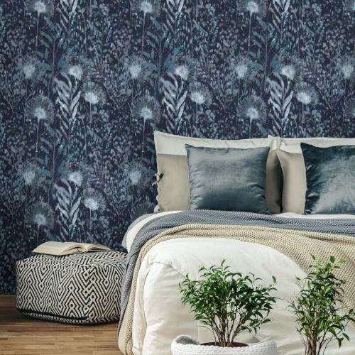 Roommates Decor Dandelion Blue Peel And Stick Wallpaper Rmk11371rl Bellacor In 2020 Roommate Decor Dandelion Wallpaper Peel And Stick Wallpaper