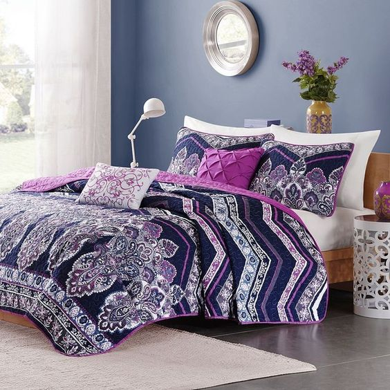 Intelligent Design Kinley Coverlet Set, Purple ($92) ❤ liked on Polyvore featuring home, bed & bath, bedding, quilts, purple, twin xl bedding, floral twin bedding, purple paisley bedding, purple chevron bedding and queen bedding