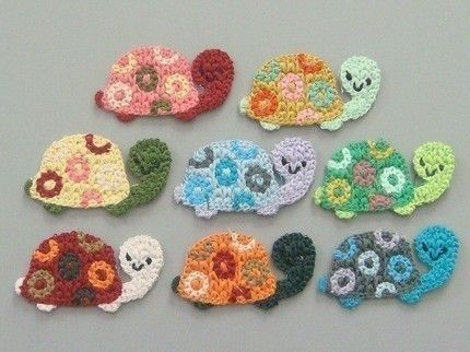 Lot of 8 Crochet Turtle Appliques    Quantity: 8    Color: 1 each of 8 colors shown in picture        Great for sewing, craft, clothing, bag,  Scra...