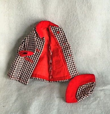 "7"" American Character / Tonner BETSY McCALL Doll Red/Black Checked COAT & HAT"