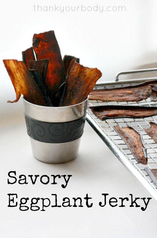 Recipe: Savory Eggplant Jerky -- Vegan, Vegetarian, Grain Free, Gluten Free (use tamari), Dairy Free, Egg Free