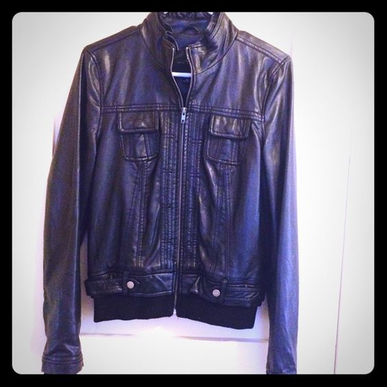Faux leather jacket black size M Get your rocker chic on! This is a wonderful addition to any wardrobe, goes well with skinnies and booties :) Jackets & Coats