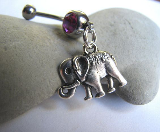 #Circus #Elephant #Belly Button Ring by #BitsOffTheBeach,