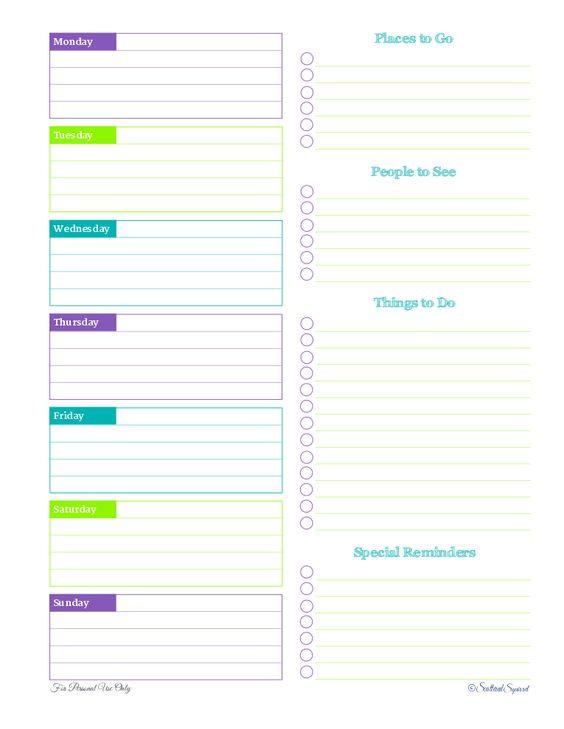 Free Printable Weekly Planner Half Hour Increments Schedule