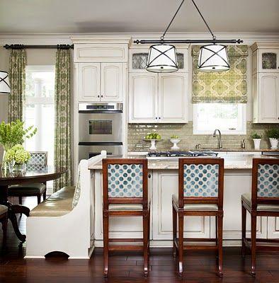 drool - dark hardwood floors and kitchen bench