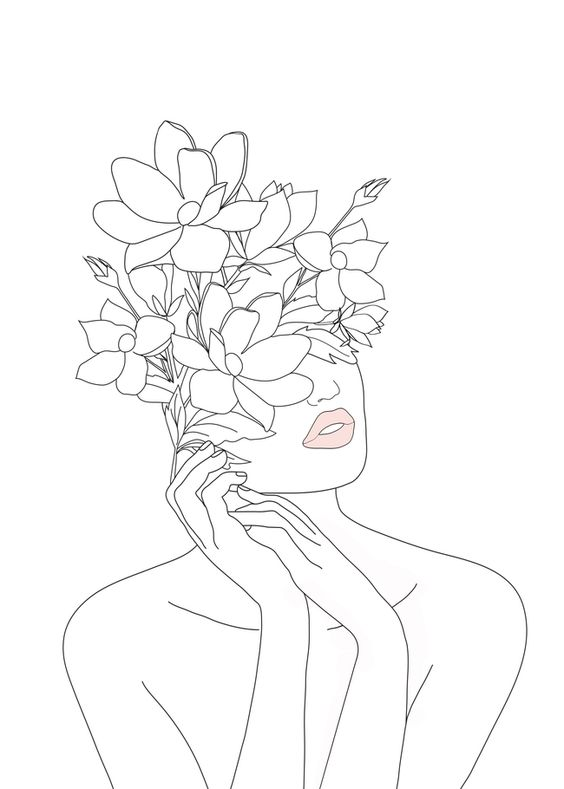 "Minimal Line Art Woman with Magnolia Mini Art Print by Nadja - Without Stand - 3"" x 4"""