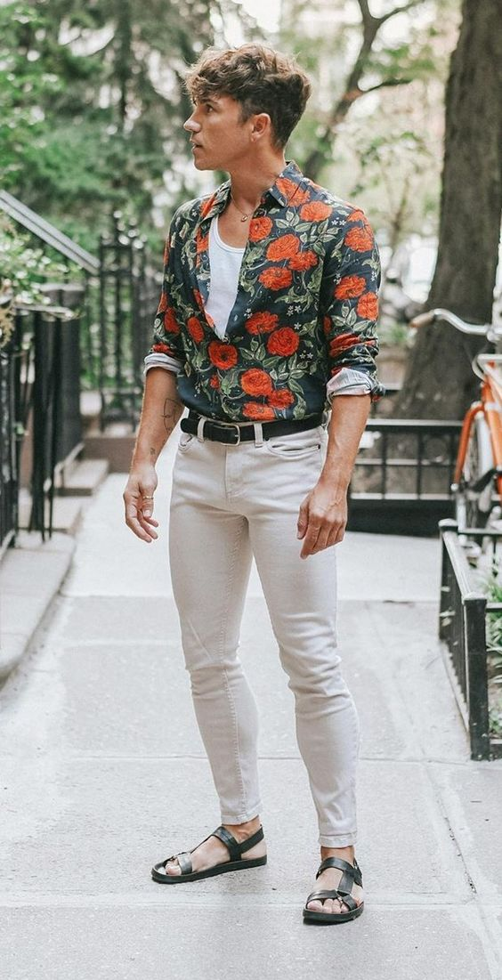 floral button down with neutral shirt and chinos