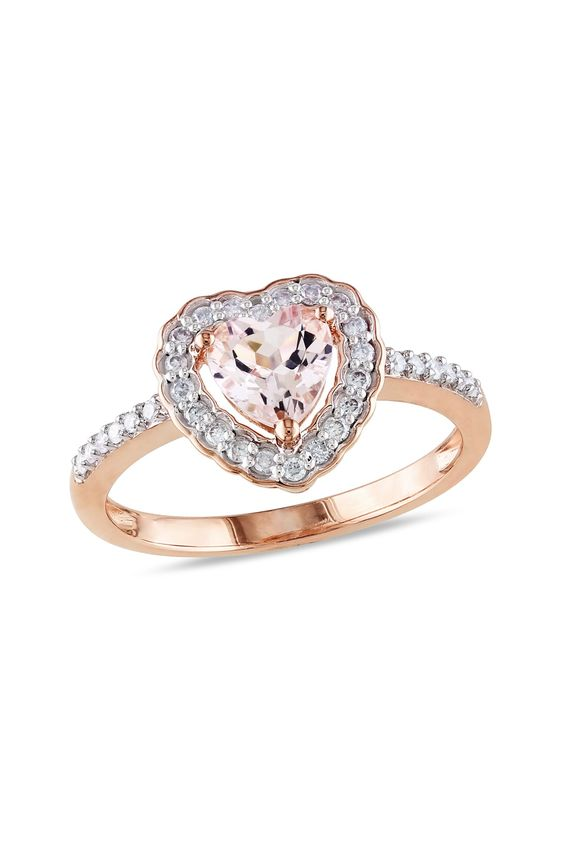 Diamond & Morganite Heart Ring: