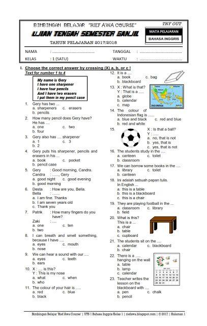 Contoh Soal Uts Bahasa Bali Kelas 1 Sd