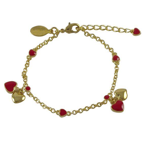"Red Enamel Heart Charms On Gold Plated Brass Bracelet, 6"" 1"""