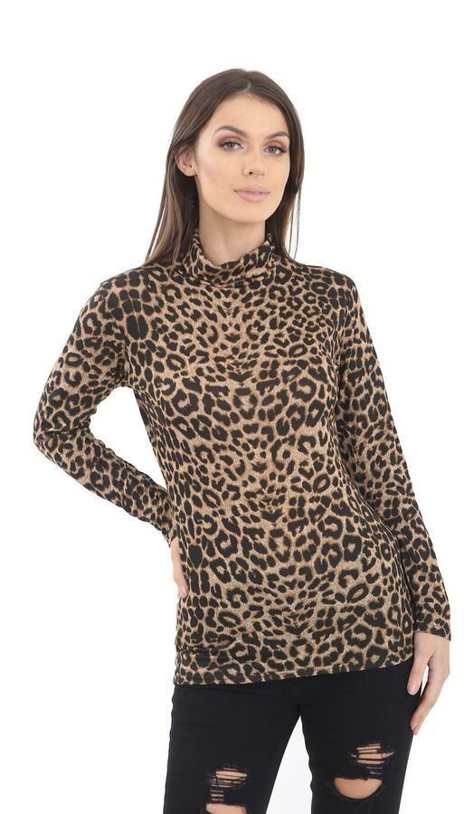 Womens Ladies Leopard Print Long Sleeve  Polo Neck Top UK 8-26