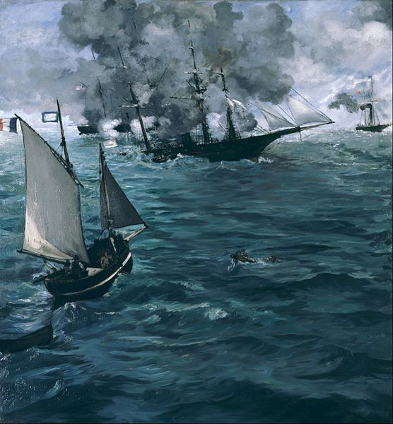 """""""Battle of the U.S.S. Kearsarge and the C.S.S. Alabama"""" by Edouard Manet (1864)"""