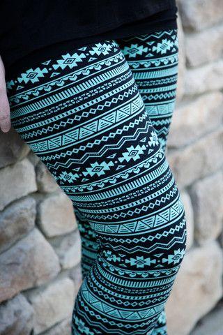 Turquoise Aztec Leggings - Plus Size!