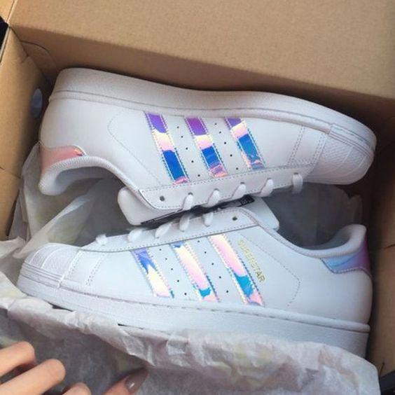 Adidas Women Fashion Reflective Flats Sneakers Sport Shoes Holographic Adidas Adidas Women Fashion Adidas Women