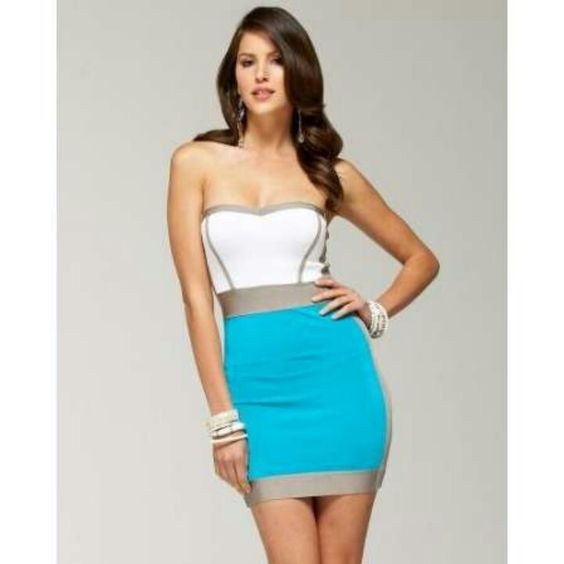 More on the sexy side; is this sweetheart cut tube dress that is very form-fitting to the body.