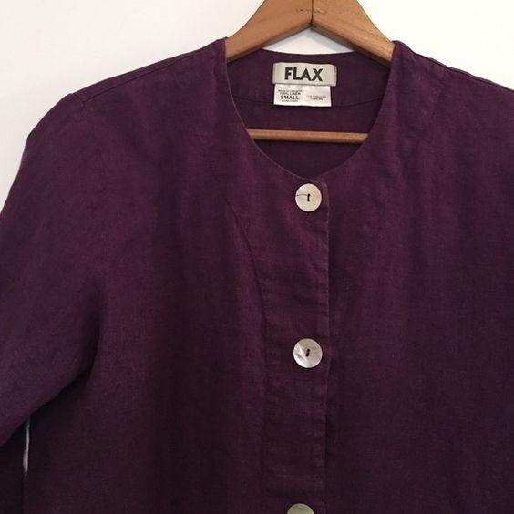 FLAX Purple Linen Jacket Beautiful FLAX purple linen jacket with abalone buttons. Size small. Brands runs oversized. FLAX Jackets & Coats