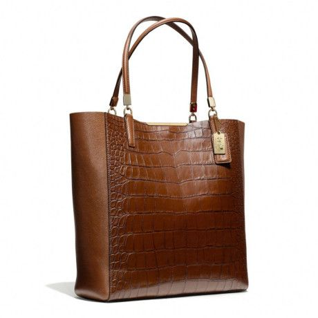 COACH Brown Madison Northsouth Bonded Tote in Croc Embossed Leather