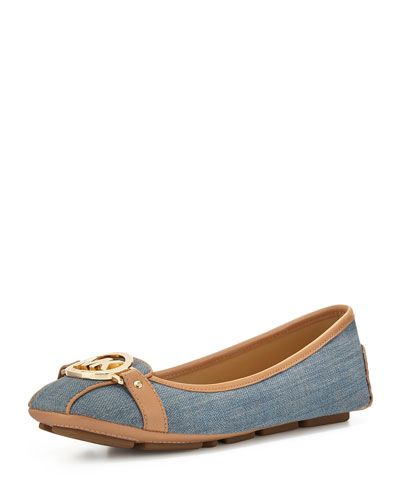 MICHAEL MICHAEL KORS Michael Michael Kors Fulton Logo-Buckle Moccasin, Washed Denim. #michaelmichaelkors #shoes #denim