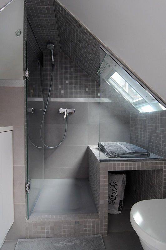 Best Insulation For Interior Bathroom Walls Beautiful Tiny Apartment In Paris Attic Rehab Attic Renovation Attic Shower Simple Bathroom