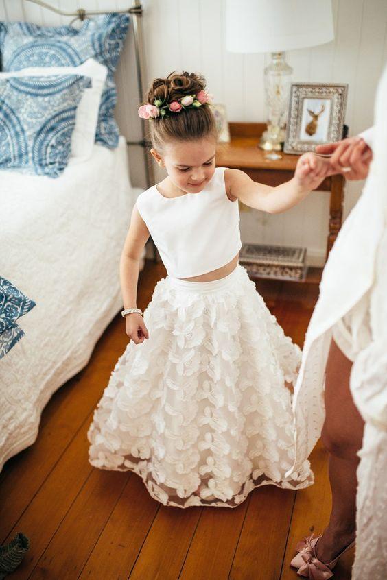 Girl Bridesmaid Sleeveless Kids Party Flower Lace Wedding Dresses Princess Skirt
