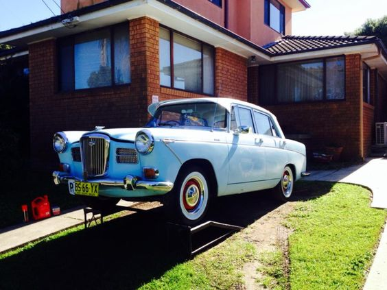 Bessie. Our 1964 Wolseley 24/80 police special. Straight six, three speed automatic with seat belts.