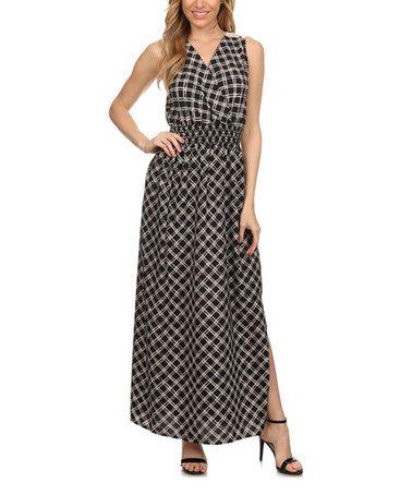 $29.99 Loving this Black Plaid Surplice Maxi Dress on #zulily! #zulilyfinds