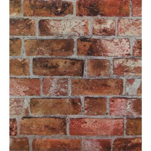 Red-Orange-Brick-Wallpaper-Embossed-Textured-Vinyl-Rust-Bricks-Stones-HE1046