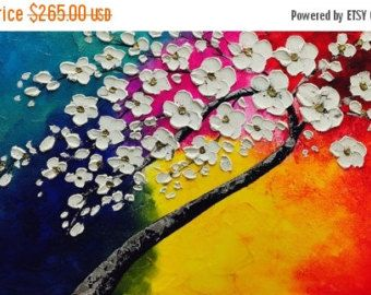 Sale XL Oil GoldSilver Cherry Blossom painting Abstract von artmod