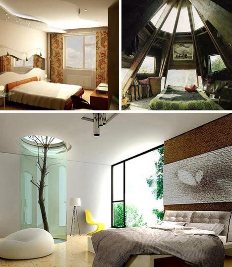 Bedroom design, my favorite is the tree house looking one. Top right.