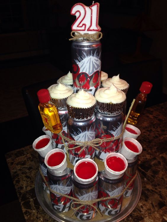 Beer Tower/Beer Cake with Jello Shots and Corona Cupcakes for the boyfriend's twenty-first birthday!