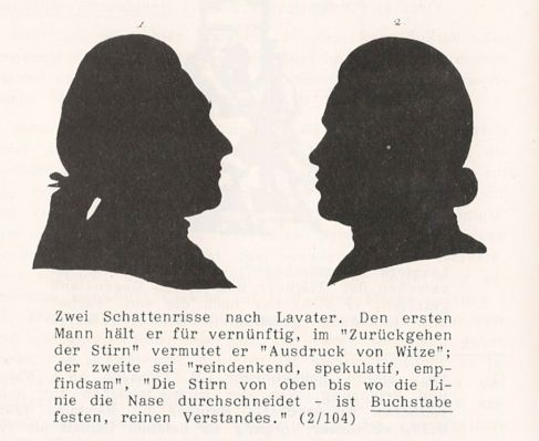 """ein Mann """"der gemacht ist zu richten und zu herrschen – und Fürsten Wahrheiten zu sagen, die ihnen niemand sagen darf"""" (Johann Caspar Lavater) - Schlosser hielt nicht viel von Lavater und seiner Physiognomik."""
