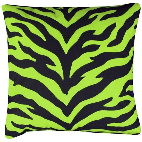 Zebra Print Square Decorative Pillow - Lime Green/Black found on Polyvore