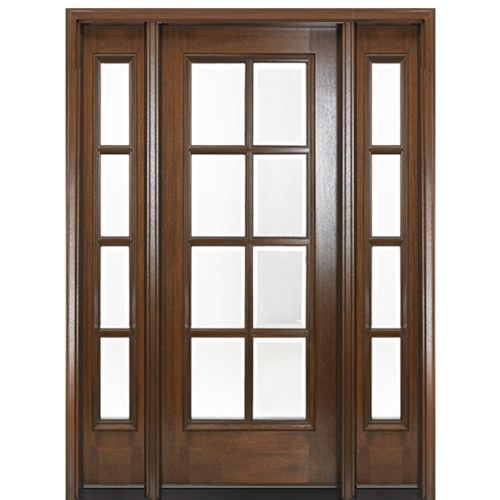 Mai Doors Df8l 1 2 True Divided Lite 6 8 Tall 8 Lite Mahogany Exterior Door With Two Side Modern Exterior Doors Exterior Entry Doors Mahogany Exterior Doors