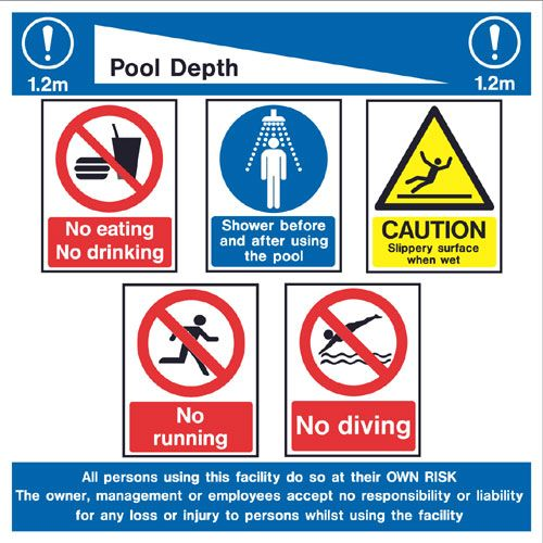 Warning Swimming Pool Boards Swimming Pool Rules And Depth Sign Depth Can Be Changed Ref