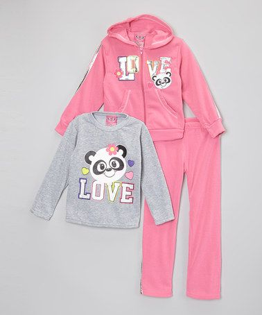Look what I found on #zulily! Hot Pink & Gray 'Love' Hoodie Set - Infant, Toddler & Girls #zulilyfinds
