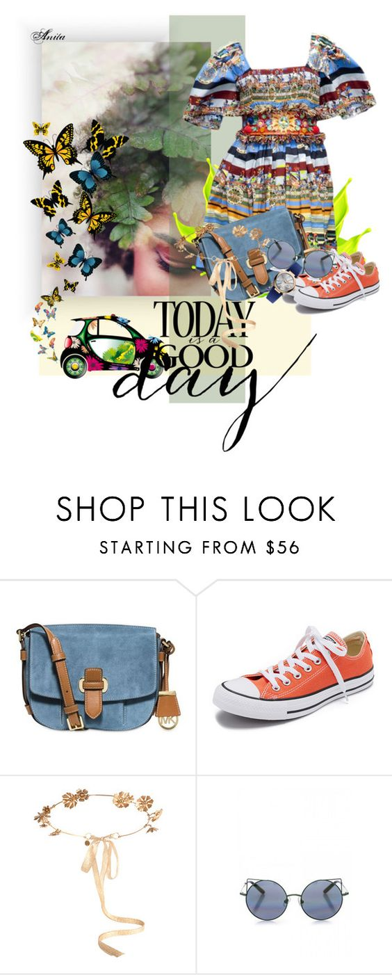 """""""Today is a good day!"""" by wodecai ❤ liked on Polyvore featuring Dolce&Gabbana, MICHAEL Michael Kors, Converse, Eugenia Kim, Linda Farrow and Vivienne Westwood"""