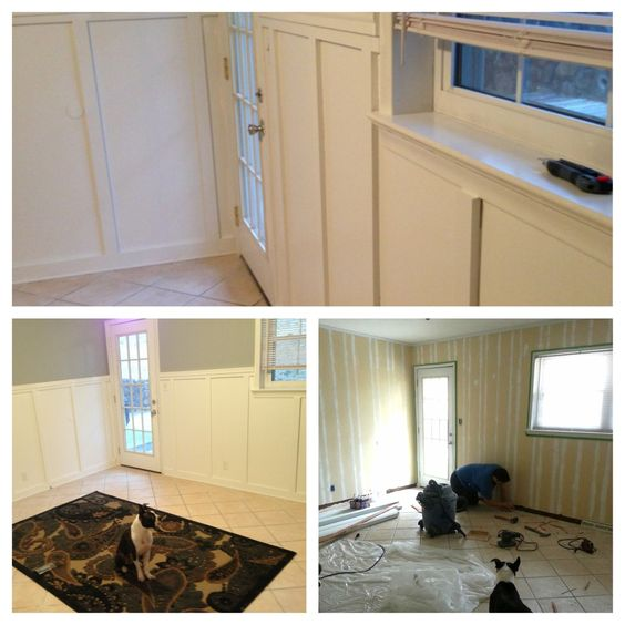 hiding wood paneling with wainscoting, filler and paint. Turned out perfect. Dog sold separately.