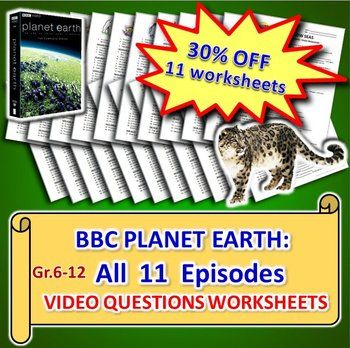 planet earth all 11 episodes video worksheets bundle editable david attenborough keys. Black Bedroom Furniture Sets. Home Design Ideas