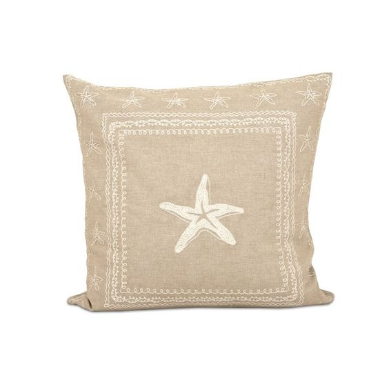 Marian Starfish Cotton Pillow in Sand and Crema - 20-in x 20-in - Feather Filled