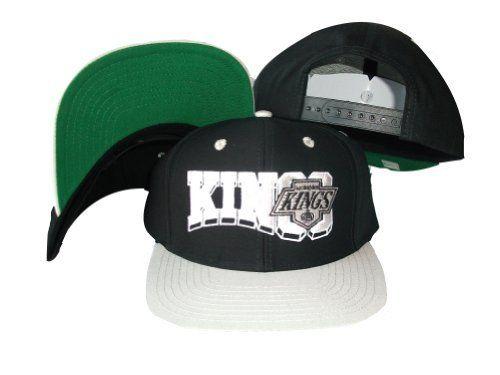 Los Angeles Kings Wave Black Grey Two Tone Snapback Adjustable Plastic Snap  Back Hat   7e47ed54b49f