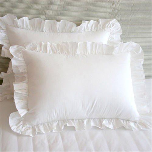 Rainbowlinens Shabby Chic Eyelet Ruffled Sham 600 Thread Count 100 Egyptian Cotton Euro Square Continental E European Pillows Ruffle Pillow Ruffle Pillow Case