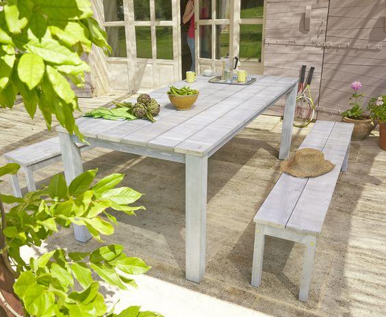 Table et banc pliante carrefour for Carrefour table jardin