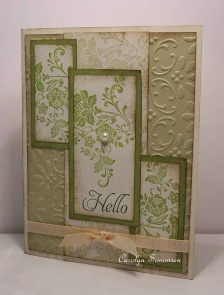 omg, I love this card.  It is fresh vintage and elementary elegance using river rock vvanilla and lucky limeade. ink garden green river rock lucky limeade and soft suede.  love it a lot and want to make one