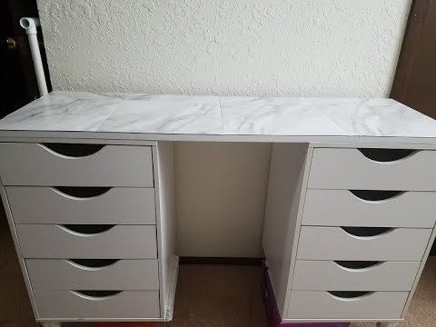 Step By Step Diy Ikea Vanity Dupe Youtube Ikea Vanity Ikea Diy Diy Makeup Vanity Ikea